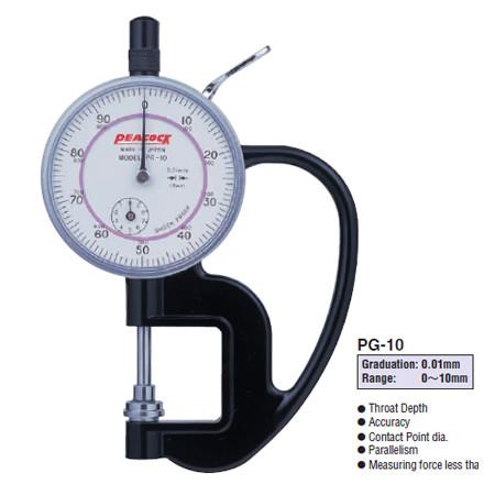 Đồng hồ đo độ dày Peacock PG-10 (0-10mm)