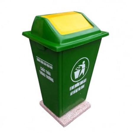 thung rac nhua nap lech bap benh 60 lit - Thùng rác nhựa nắp lệch bập bênh 60 lít