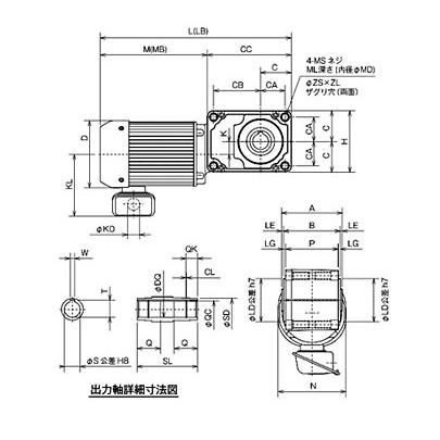 Motor giảm tốc cốt âm Mitsubishi GM-SSYPF-RH-0,75Kw-1/60